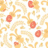 Seamless pattern of Easter bunnies Royalty Free Stock Photos