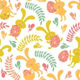 Seamless pattern of Easter bunnies Royalty Free Stock Photo