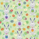 Seamless pattern, Easter Bunnies with gift boxes Stock Images