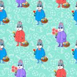 Easter seamless pattern-02. Seamless pattern with Easter bunnies. Rabbits keep bouquets of tulips and baskets with eggs and Easter cakes. Rabbits in a raincoat Royalty Free Stock Image