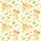 Seamless pattern with Easter bunnies.