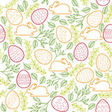 Seamless pattern with Easter bunny, eggs and Royalty Free Stock Images