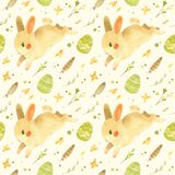 Seamless pattern with Easter bunny. Rustic template with cute rabbit, Easter eggs, feathers and spring flowers