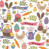 Seamless pattern with Easter design elements. Vector illustration, eps stock illustration