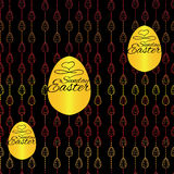 Seamless pattern with Easter eggs on black background. Hand draw Royalty Free Stock Images
