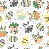 Seamless pattern with Easter eggs and bunnies. Royalty Free Stock Photography
