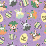 Seamless pattern with Easter eggs and bunnies. Royalty Free Stock Images