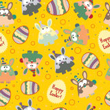 Seamless pattern with Easter eggs and bunnies. Stock Photography