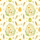 Seamless pattern with Easter eggs, butterflies and spring flowers in a green-orange palette.