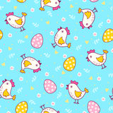 Seamless pattern with easter eggs and chicken. Royalty Free Stock Image