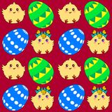Seamless pattern with easter eggs and chickens Stock Photography