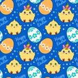 Seamless pattern with easter eggs and chickens Stock Image