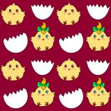Seamless pattern with easter eggs and chickens Stock Images