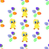 Seamless pattern with Easter eggs, chicks Stock Photo