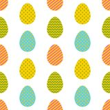 Seamless pattern. Easter eggs with different geometric ornaments  on a white background. Memphis style of 80s-90s Royalty Free Stock Images