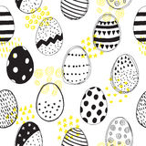Seamless pattern with easter eggs doodles Stock Photography