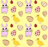 Seamless pattern with easter eggs, duckling and funny rabbit. Vector illustration. Vector seamless easter pattern with eggs, duckling and funny rabbit, yellow Stock Photo