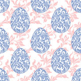 Seamless pattern. Easter eggs with floral elements on a white ba Royalty Free Stock Images