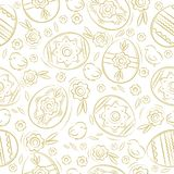 Seamless pattern with EASTER EGGS, flowers, leafs, chick. Hand-drawn elements. Easter holidays design. Can be used for fabric,. Wallpaper, pattern fills, web vector illustration