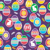 Seamless pattern with Easter eggs, flowers, leafs and rabbits over purple background. Easter repeatable holidays design. Can be. Seamless pattern with Easter stock illustration
