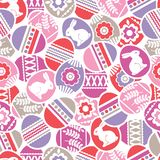 Seamless pattern with Easter eggs, flowers, leafs and rabbits over white background. Pink Easter repeatable holidays design. Can. Seamless pattern with Easter royalty free illustration