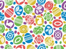 Seamless pattern with Easter eggs, flowers, leafs and rabbits over white background. Easter repeatable holidays design. Can be. Used for fabric, wallpaper vector illustration
