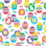 Seamless pattern with Easter eggs, flowers, leafs and rabbits over white background. Easter repeatable holidays design. Can be. Seamless pattern with Easter eggs royalty free illustration