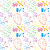 Seamless pattern of Easter eggs hand drawn icons holiday background Royalty Free Stock Image