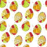 Seamless pattern with Easter eggs with pattern in doodle style royalty free stock photos