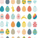 Seamless pattern Easter eggs and rabbits. vector illustration