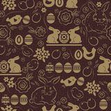 Seamless pattern with EASTER EGGS, rabbits, flowers, leafs, chick and hen on brown background. Hand-drawn Easter holidays design. Seamless pattern with EASTER vector illustration