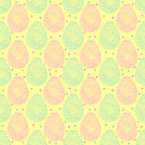 Seamless pattern of easter ornate eggs. Vector seamless pattern of pink and yellow Easter ornate eggs with yellow background vector illustration