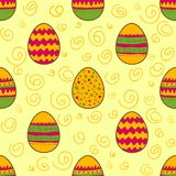 Seamless pattern with Easter painted eggs Royalty Free Stock Photo