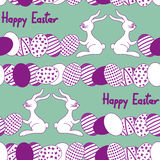 Seamless pattern with easter rabbit and eggs Stock Photos