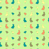 Seamless pattern with Easter rabbits and birds Royalty Free Stock Image