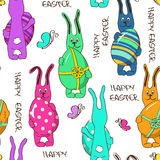 Seamless pattern of Easter rabbits Royalty Free Stock Images