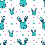 Seamless pattern with Easter rabbits Stock Photo