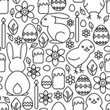 Seamless pattern of Easter symbols Royalty Free Stock Images