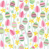 Seamless pattern with easter willow and painted eggs Royalty Free Stock Images