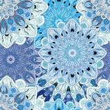 Seamless pattern with eastern floral ornament. Floral oriental design in aztec, turkish, pakistan, indian, chinese. Pastel blue seamless pattern with eastern Stock Image