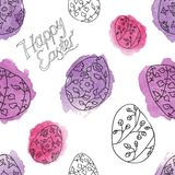 Seamless pattern with eater eggs Royalty Free Stock Photos