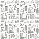 Seamless pattern with eco city line icons. Seamless Pattern Background with Eco City Line Icons. Solar panels, wind turbines, green house, energy generator and Royalty Free Stock Photos