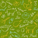 Seamless pattern with eco food symbols in sketch style. Seamless pattern with ecology farm food symbols and lettering in sketch style Stock Photos