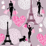 Seamless pattern - Effel Tower, hearts with callig Stock Photos