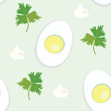 Seamless pattern with egg and parsnip Stock Image