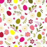 Seamless pattern from eggs and flowers. Royalty Free Stock Photos