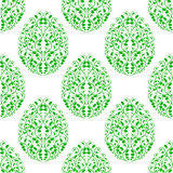 Seamless pattern from eggs with green floral ornament Stock Images