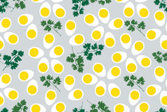 Seamless pattern with eggs and parsley Stock Photo