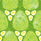 Easter eggs green style seamless pattern Royalty Free Stock Photos