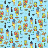 Seamless pattern with egyptean elements such as anubis, mummy Stock Images